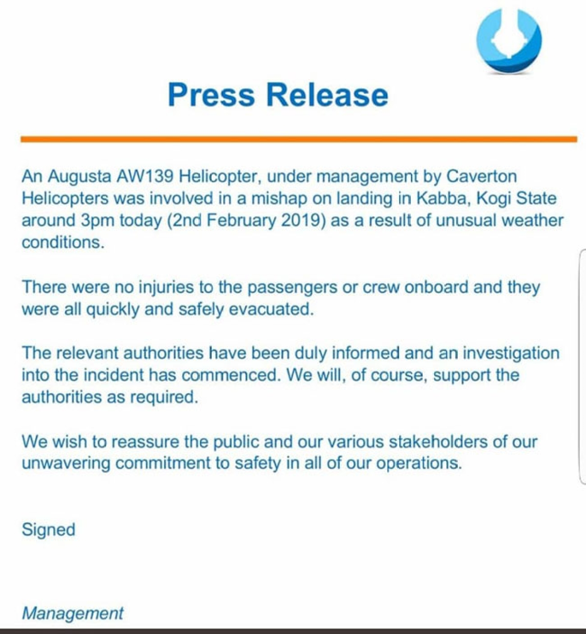 Press Statement from Caverton Helicopter