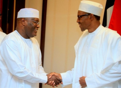 Atiku and Buhari at the peace accord meeting