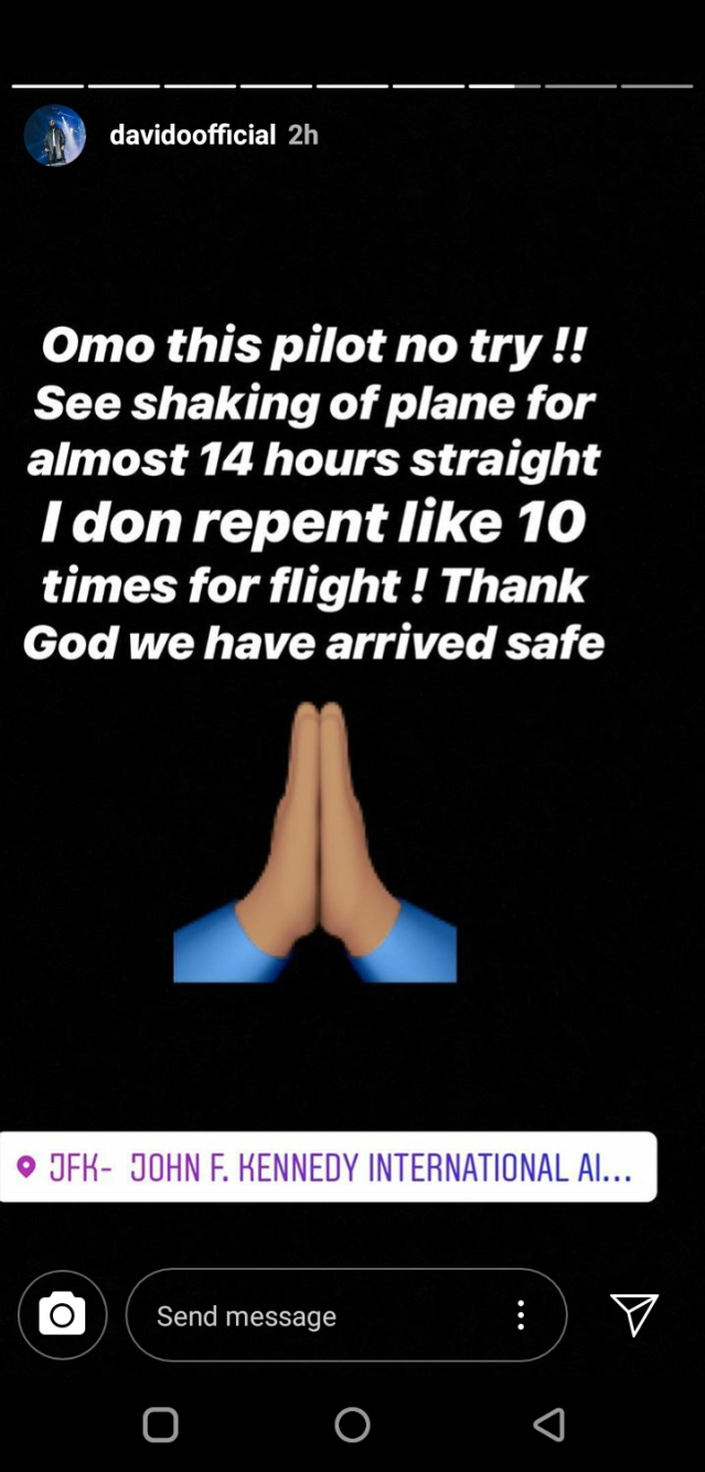 Air Turbulence Causes Davido To Panic During Flight
