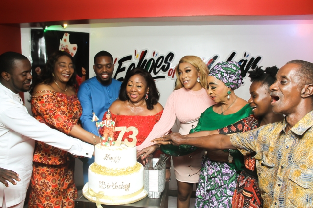 Ita Giwa cutting her birthday cake