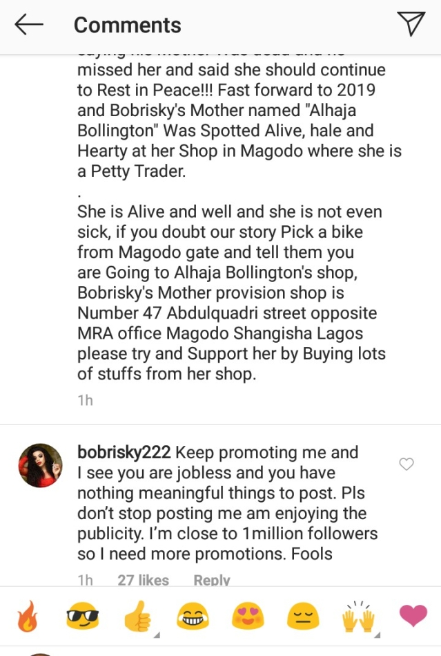 Shocking! See Why Bobrisky Lied That His Mother Was Dead