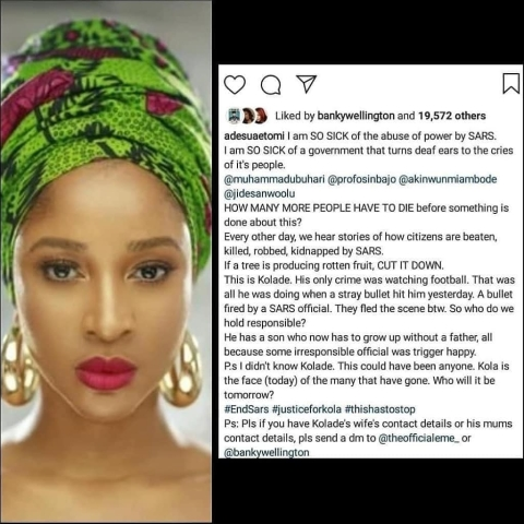See How Nigerian Celebrities Are Speaking Out Against SARS
