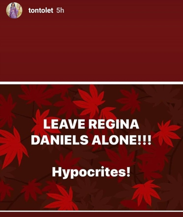 Tonto Dikeh, Helen Paul Other Nigerian Celebrities throw their Support Behind Regina Daniels