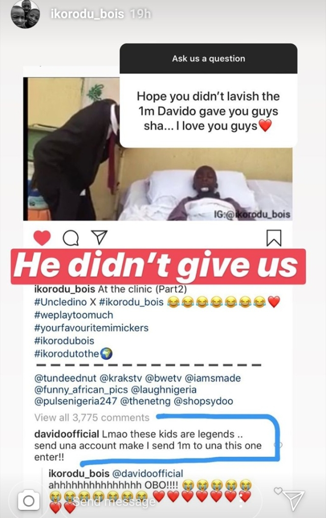 Davido Yet To Give Ikorodu Bois 1 Million Naira After 5 Months