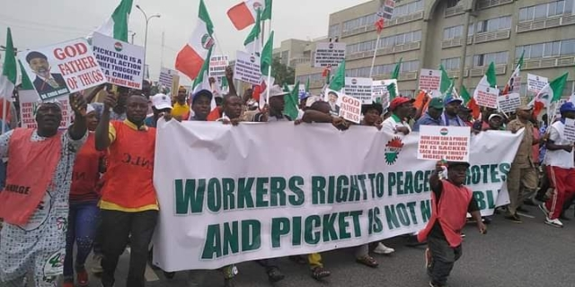 Dr Chris Ngige God Father of Thugs - NLC Protesters in Abuja (Photos)