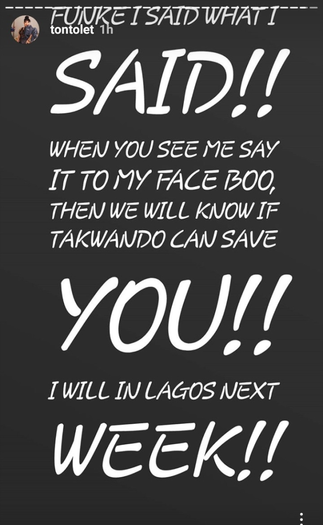 Tonto Dikeh Threatens To Disfigure Actress, Funke Adesiyan, On her next Visit To Lagos