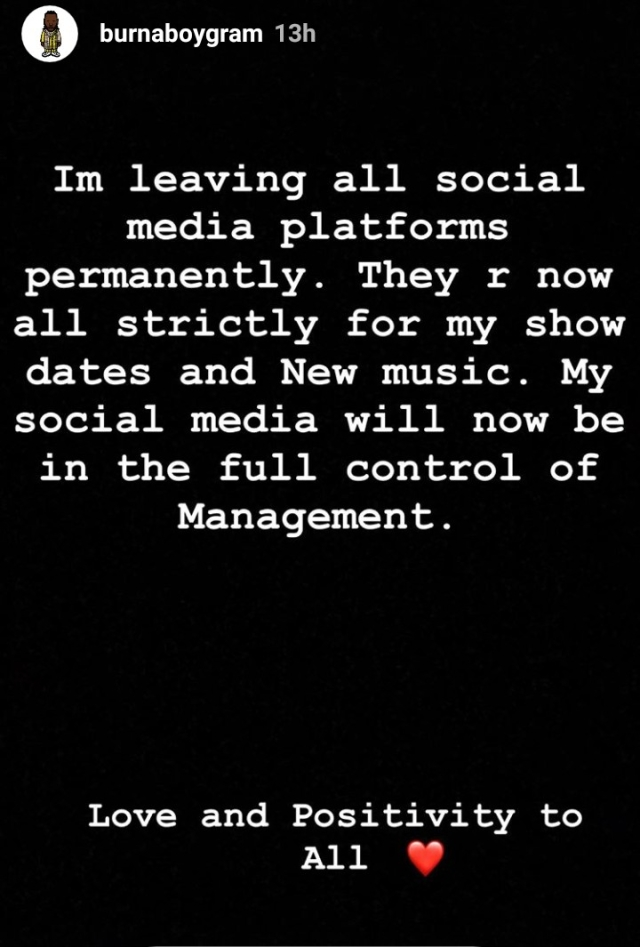 Must Read!  Burna Boy Announces His Exit From Social Media - Here's Why