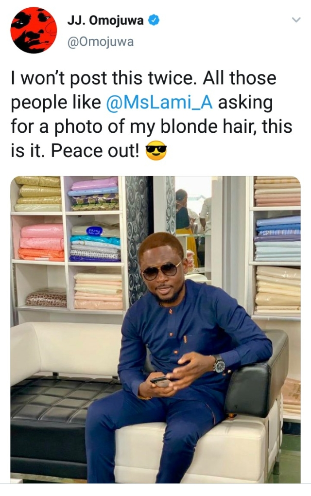 Omojuwa Fulfills His Promise To Go Blonde If Messi Fails To Win The Champions League