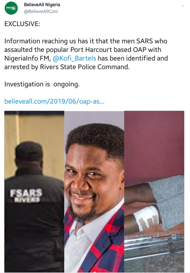 SARS Operatives Arrested For Brutalizing Nigeria Info OAP, Kofi Bartels, In Rivers