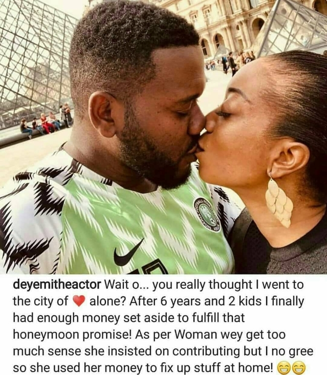 Actor Deyemi Okanlawon Fulfills His Promise Of Six Years To Wife