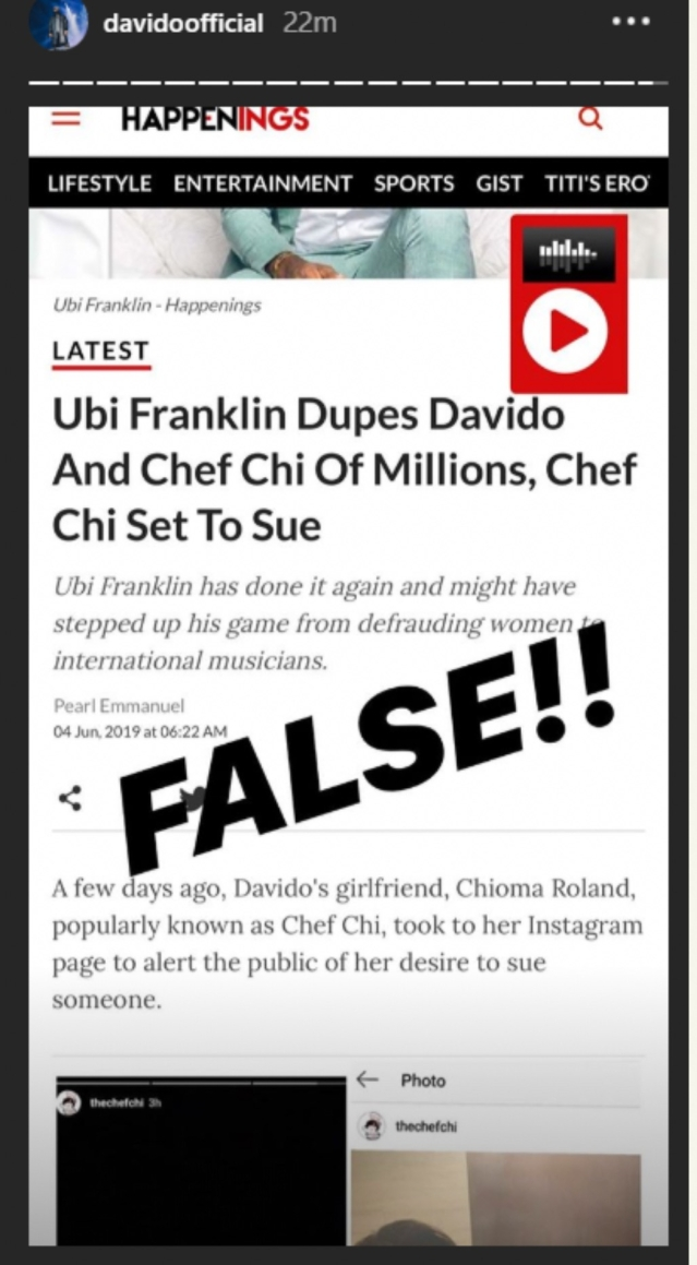 Davido debunks rumours about Ubi Franklin