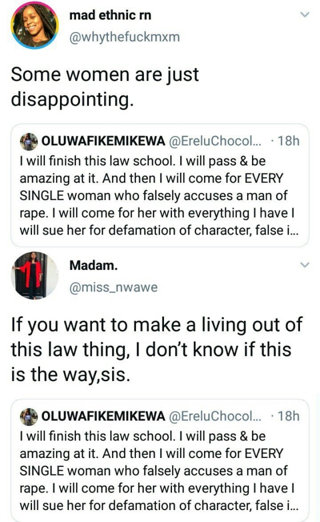 Nigerian Feminists Bash Lady Law Student Who Wants to Fight Against False Rape Accusers