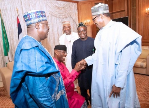 Senator Omo-Agege kneels to greet the president