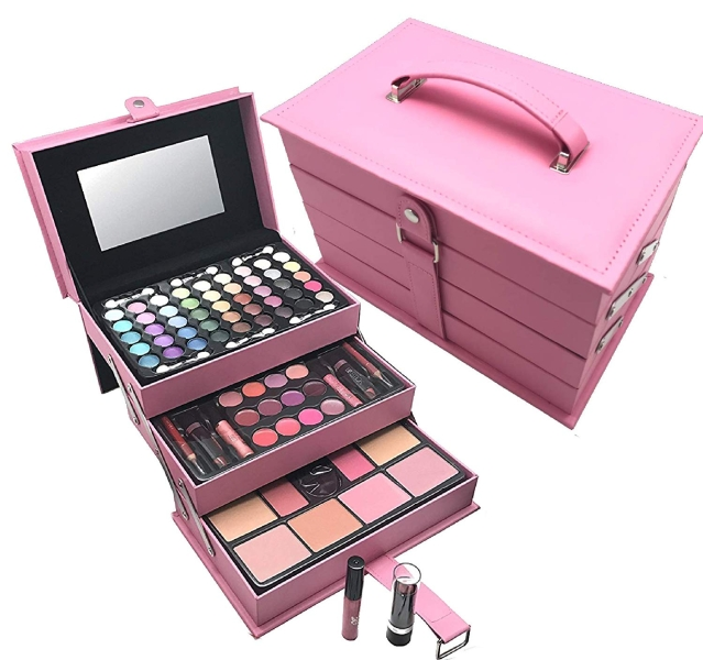 A makeup box containing cosmetics