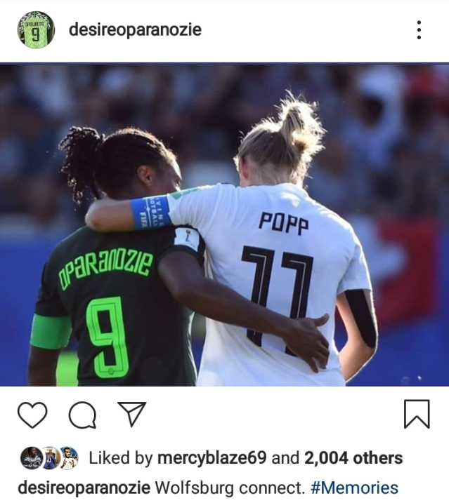 Oparanozie Blasted By Fans For Sharing This Photo She Took With Germany Women's Captain
