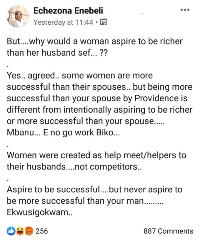 """Never Aspire To Become More Successful Than Your Spouse,"" Nigerian Man Tells Women"