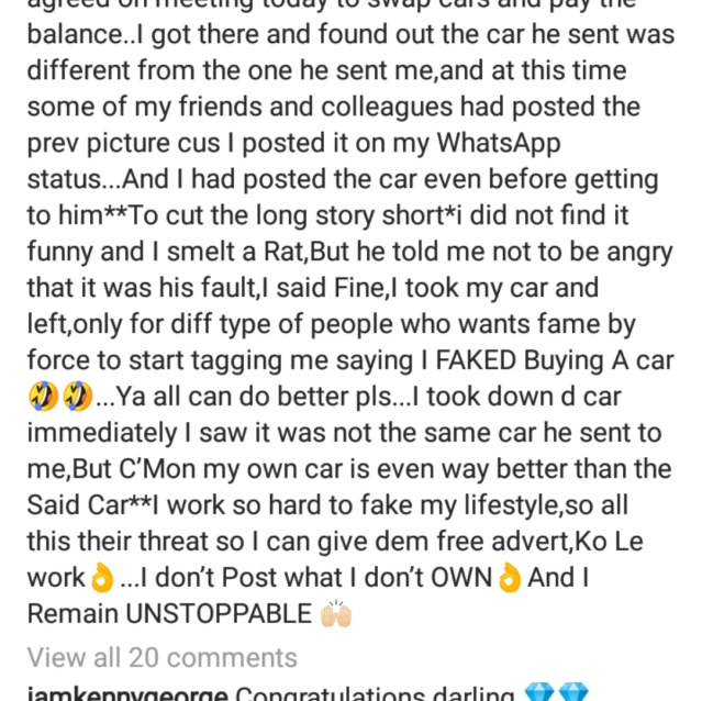 Nkechi Blessing Reacts After Getting Busted For Lying About Buying A Benz