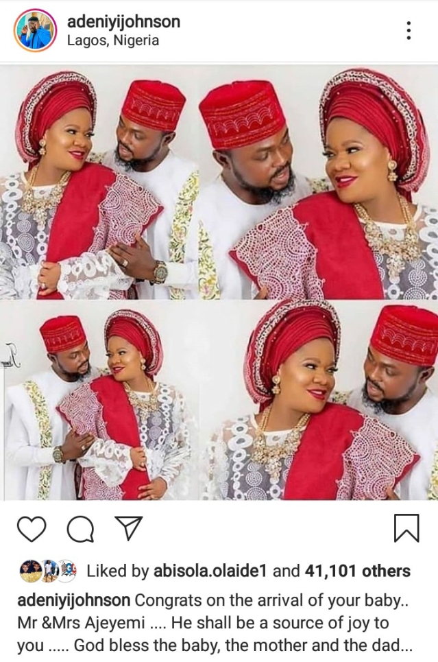 Toyin Abraham And Kolawole Ajeyemi Welcome First Baby Together