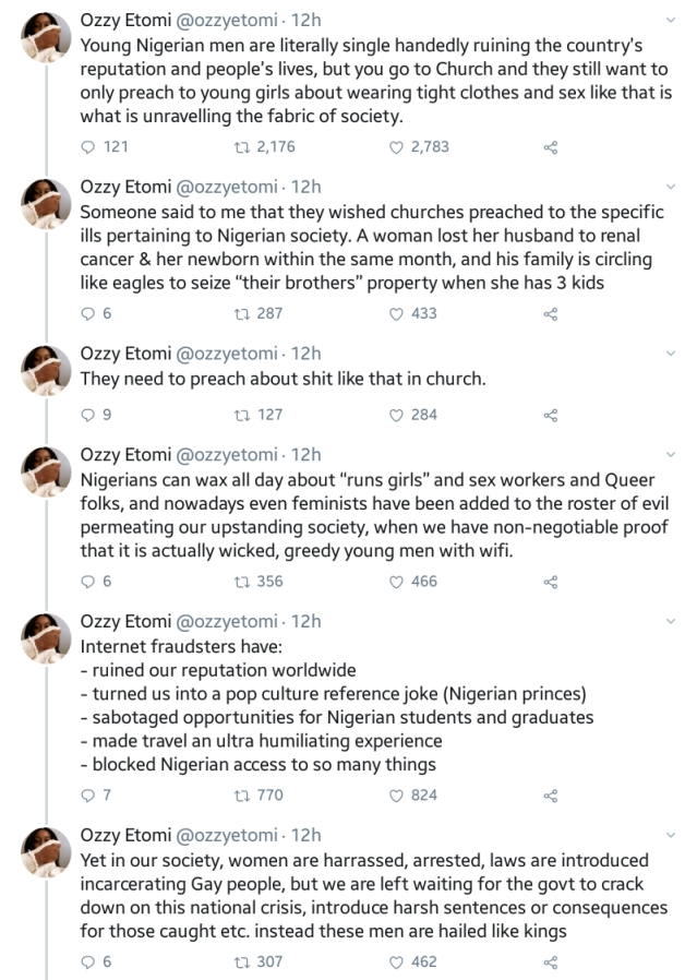 Feminist, Ozzy Etomi Blasts Wicked, Greedy Nigerian Young Men Ruining The Country's Reputation