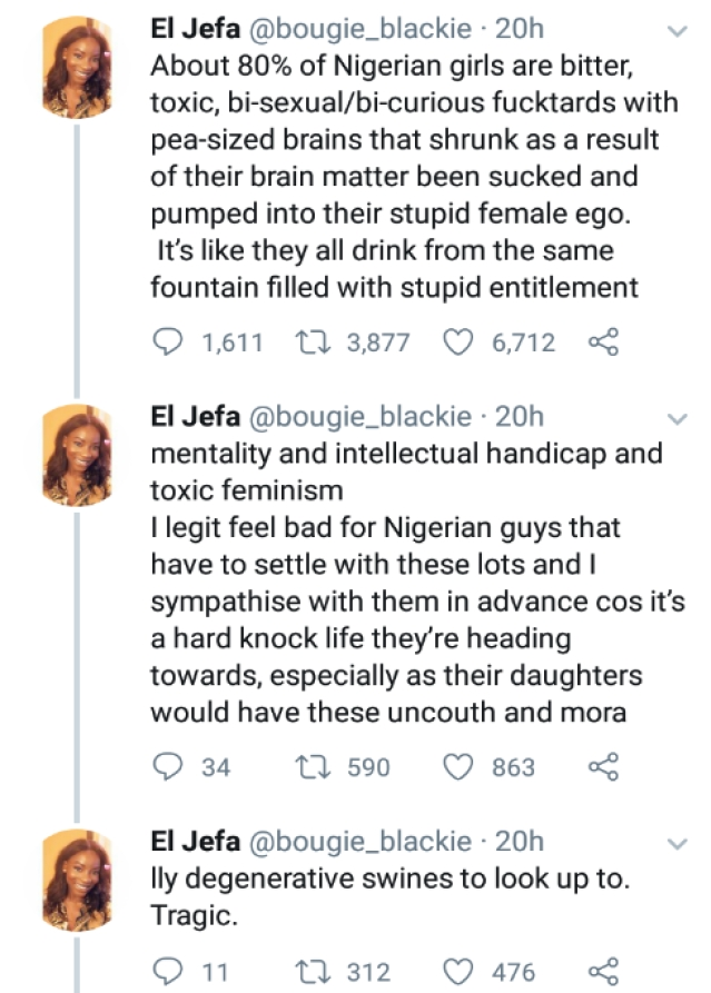 About 80% Of Nigerian Girls Are Bitter, Toxic, And Bisexuals - Nigerian Twitter User