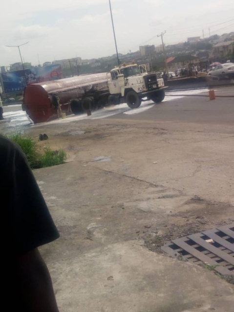See Photos of Tanker that Fell On Otedola Bridge