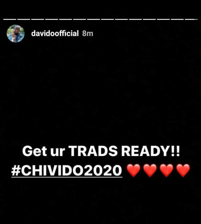 #CHIVIDO2020: Nigerians React As Davido Suggests Marriage To Chef Chi