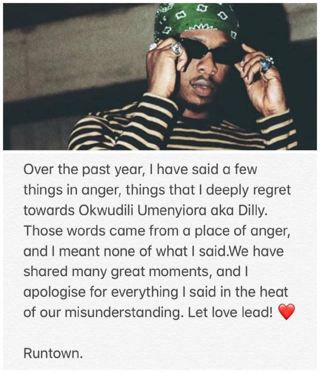 Revealed! Why Runtown Apologised To Former Label Boss