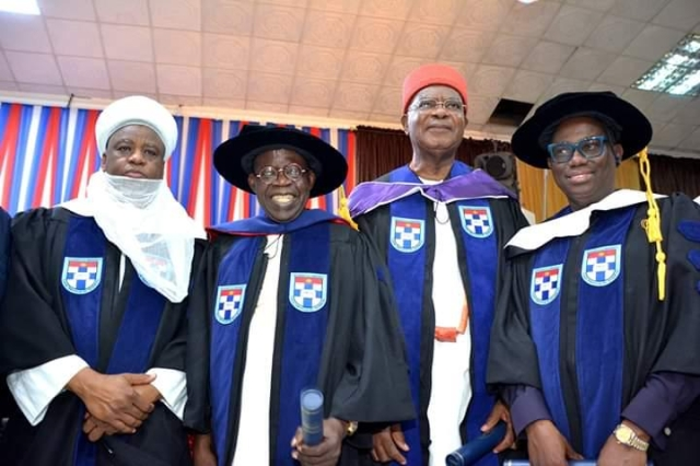 Image result for images of Asiwaju Bola Ahmed Tinubu, Obi of Onitsha, and Sultan of Sokoto conferred with honorary doctorate degree at Afe Babalola University