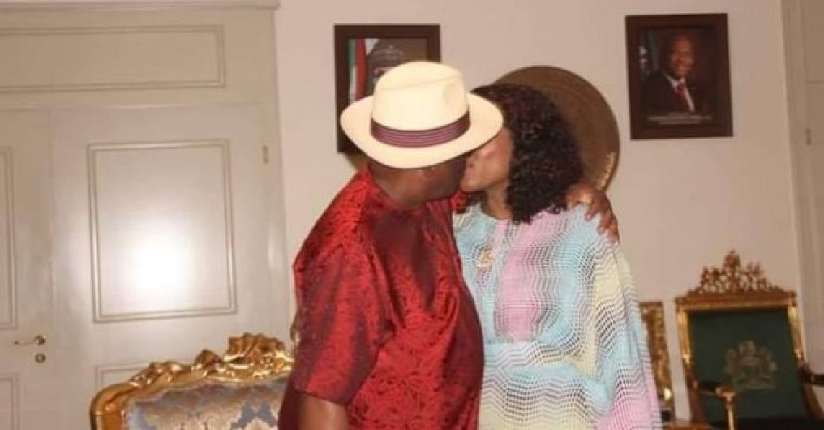 Wike and wife, kissing to celebrate victory