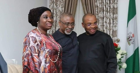 Governor Udom Receives Senate Delegates For Mrs Ekpenyong's Burial