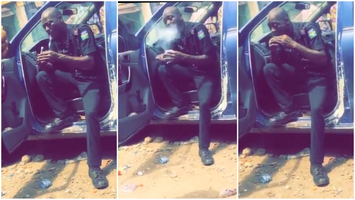 Police Officer Spotted Wrapping And Smoking Weed (Video)