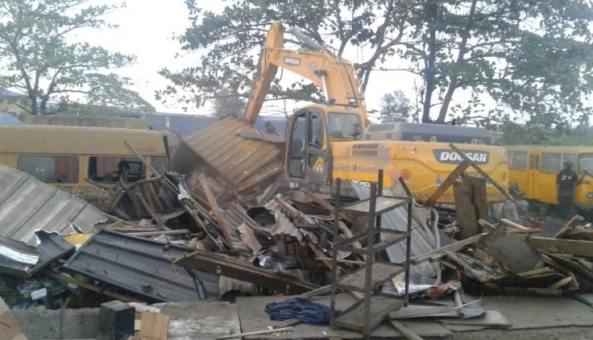 Lagos Taskforce Demolishes Illegal Structures In Mile 2