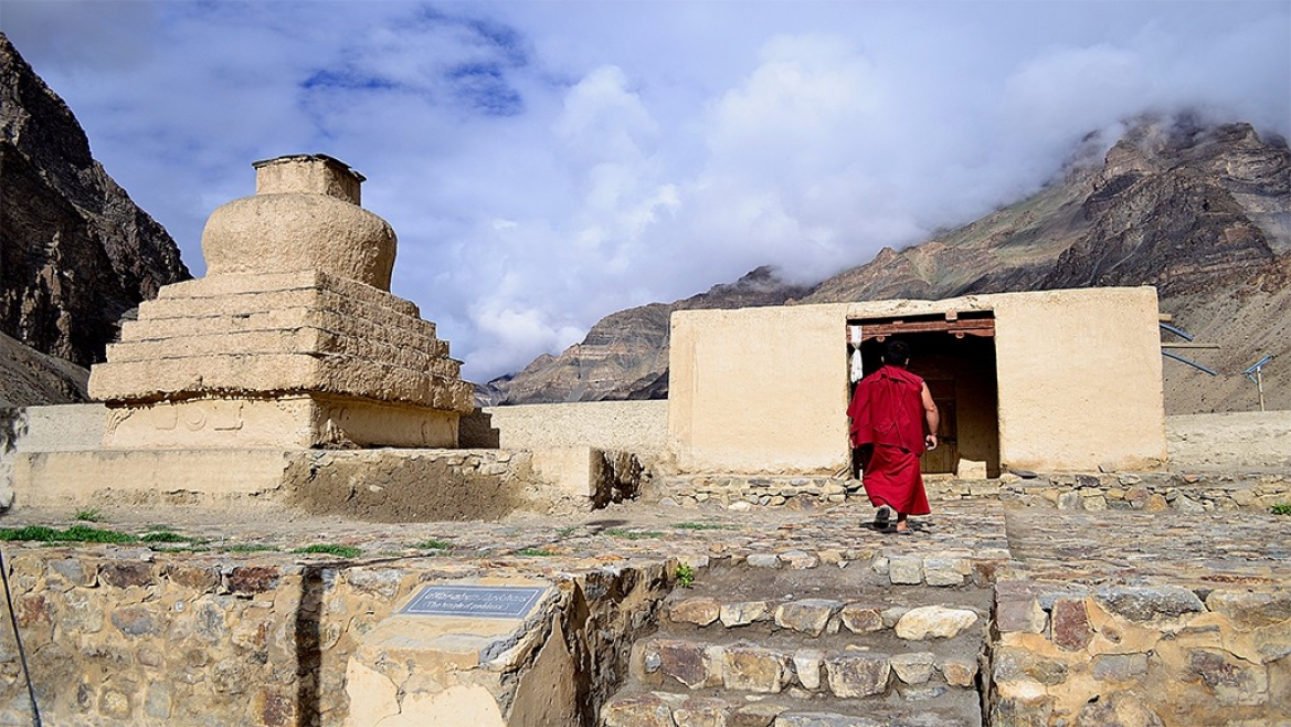 The Tabo Monastery complex has nine temples, four stupas and cave shrines
