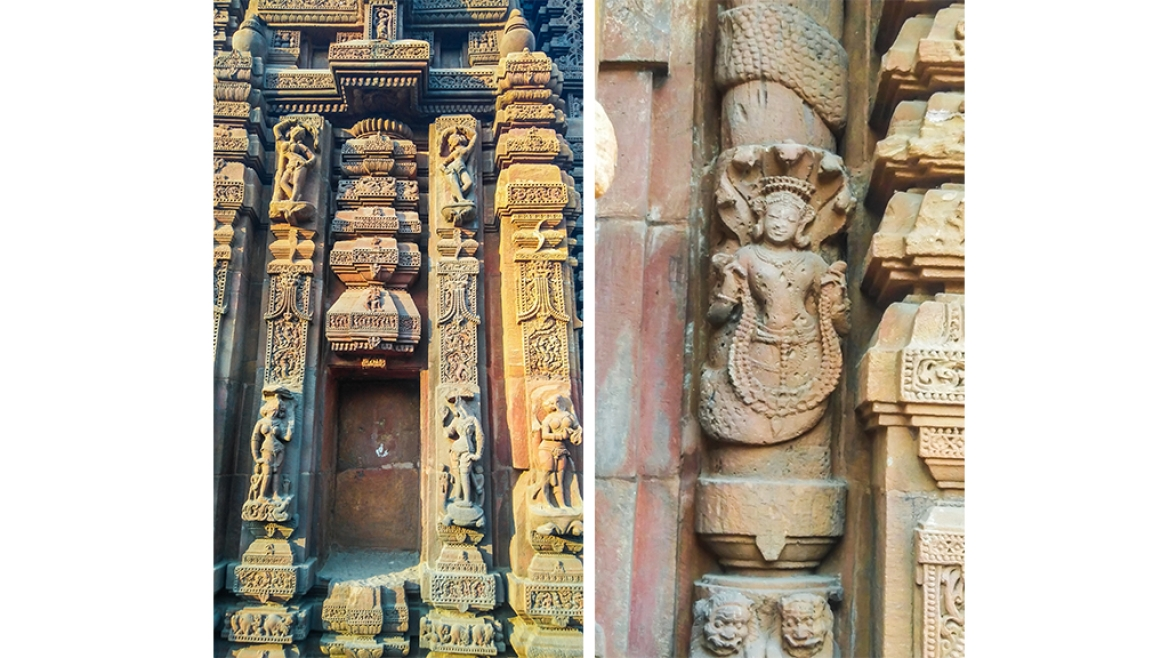 Beautiful carvings on the walls of the temple