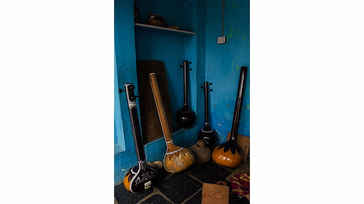 Musical instruments on display at the workshop