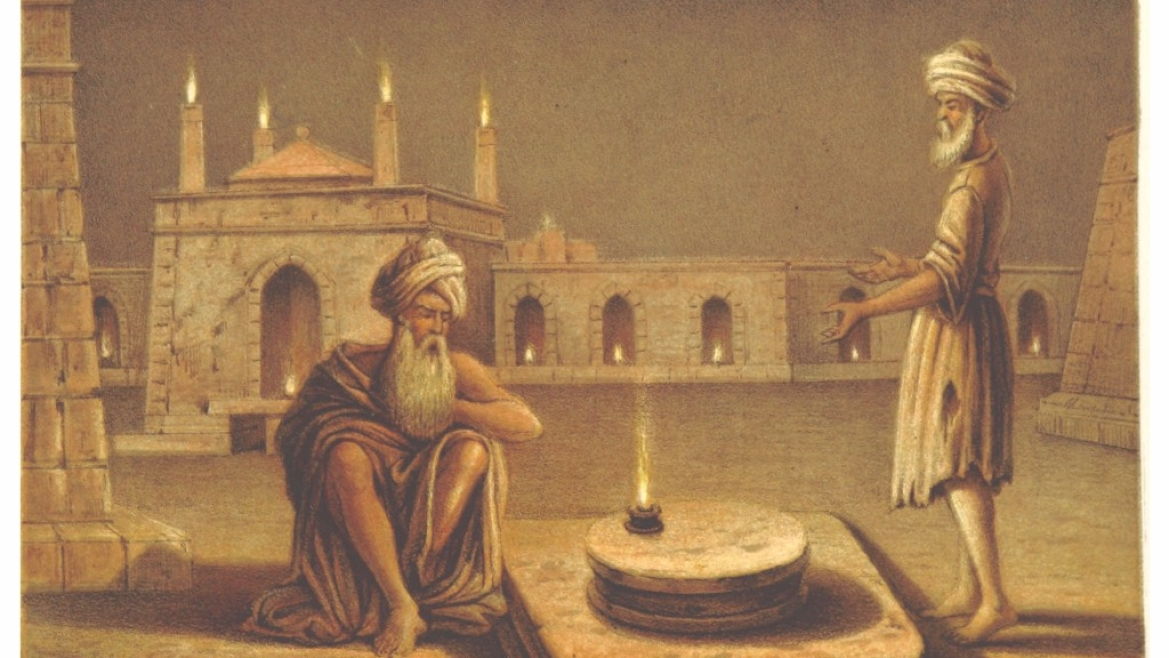 A painting of the <i>Ateshgah</i>, or Fire Temple at Baku