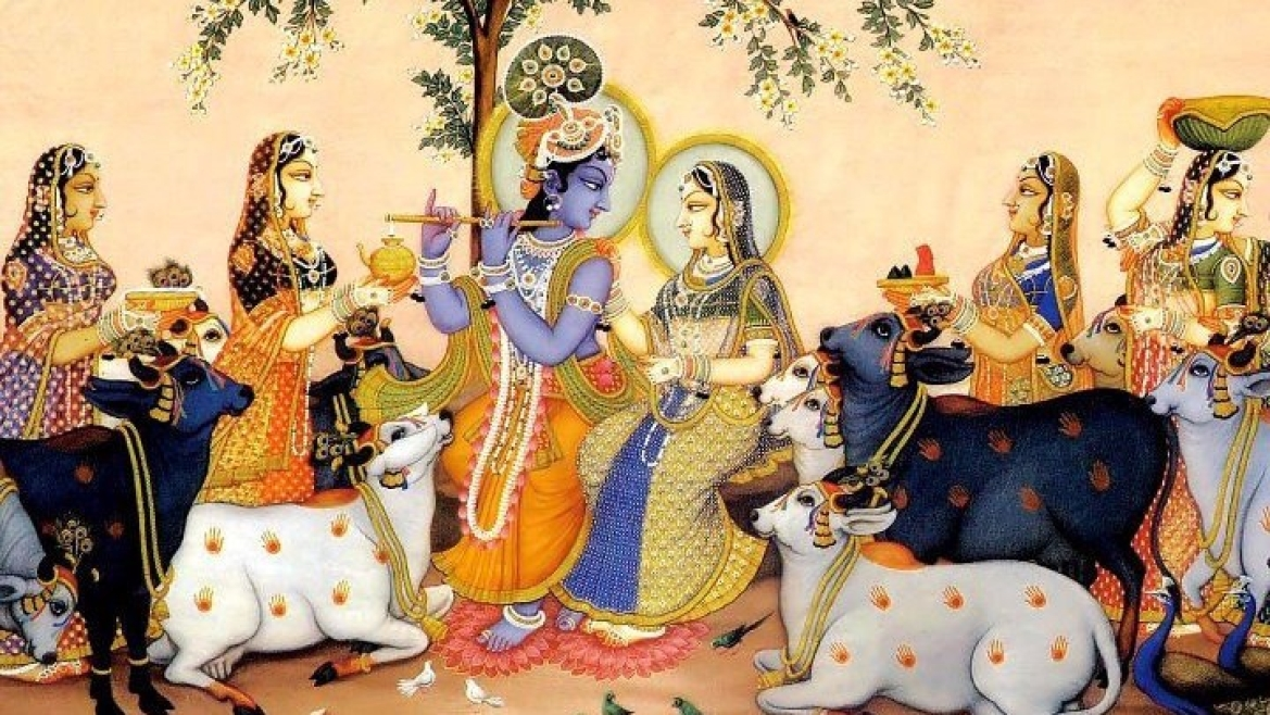 A depiction of Krishna's <i>Raas Leela </i>showing him with Radha and the<i> gopis</i>