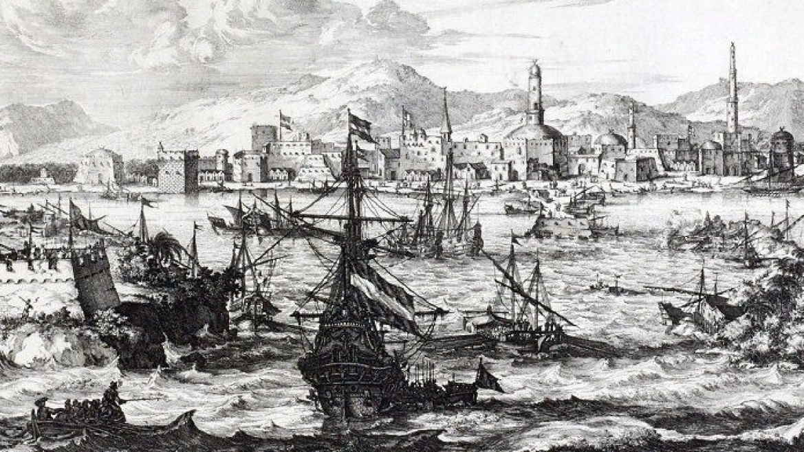 The port of Mocha, Yemen in 1680 CE