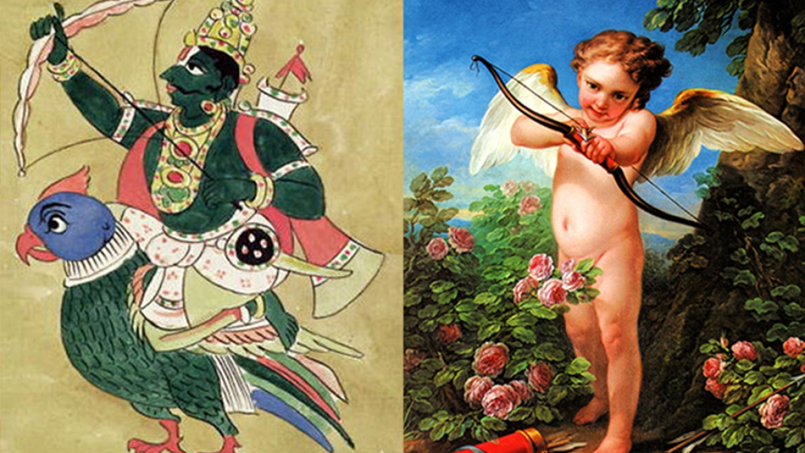 The similarities in the imagery of Kamadeva and Cupid are striking