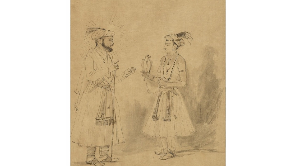 Rembrandt's sketch of Shah Jahan with his eldest son Dara Shikoh, dated around 1654-1656 CE
