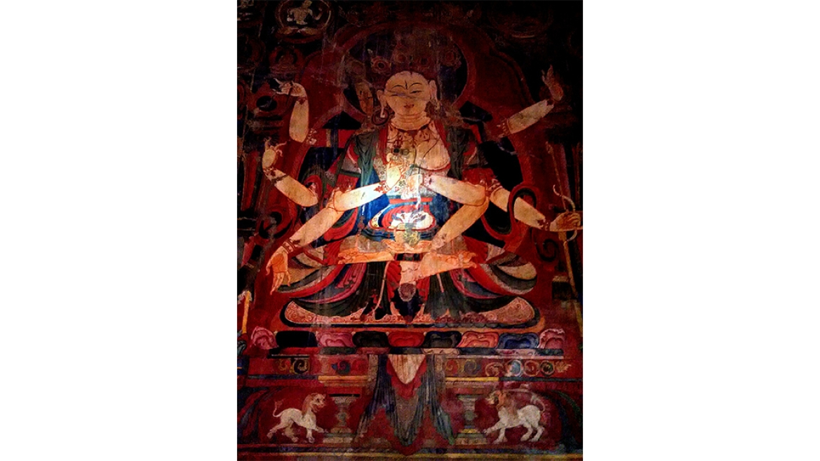 A wall painting of Bodhisattva from the 11 century CE in the Tabo monastery, Spiti