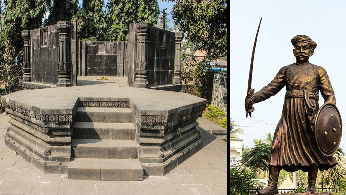 You can find the recently spruced up  memorial to Kanhoji Angre in the heart of the Alibaug town.