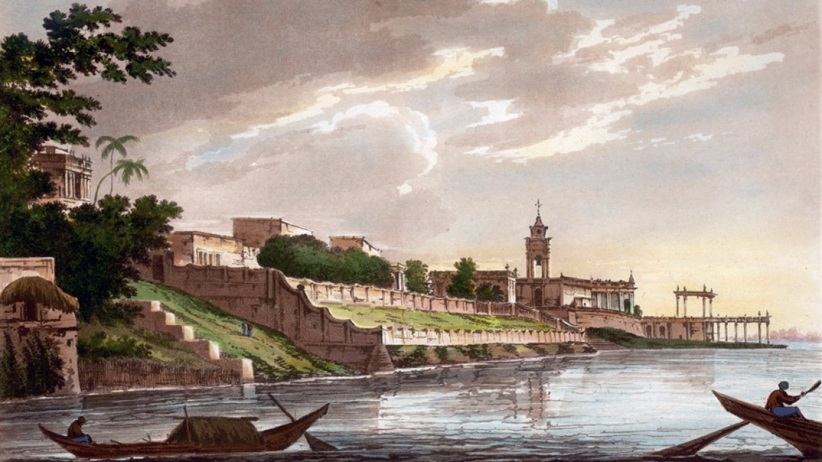 A painting of the once stately banks of the River Hooghly