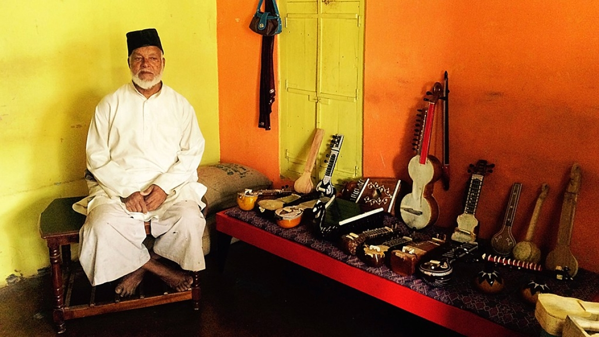Amir Hamza with the instruments he has crafted