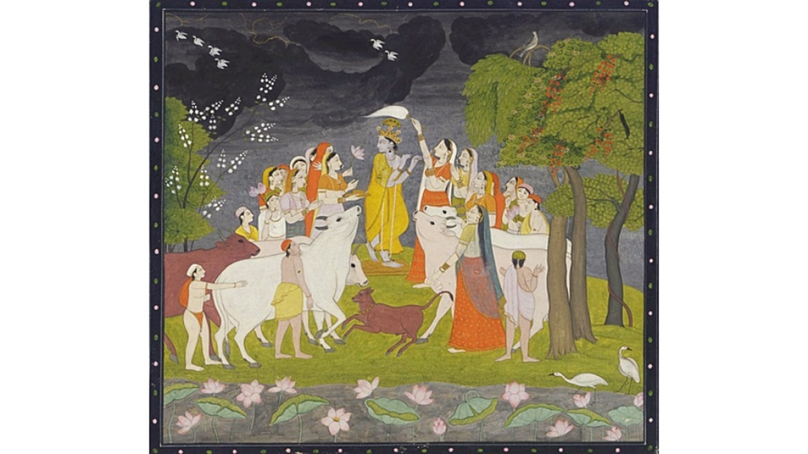 Kangra painting of Krishna playing the flute