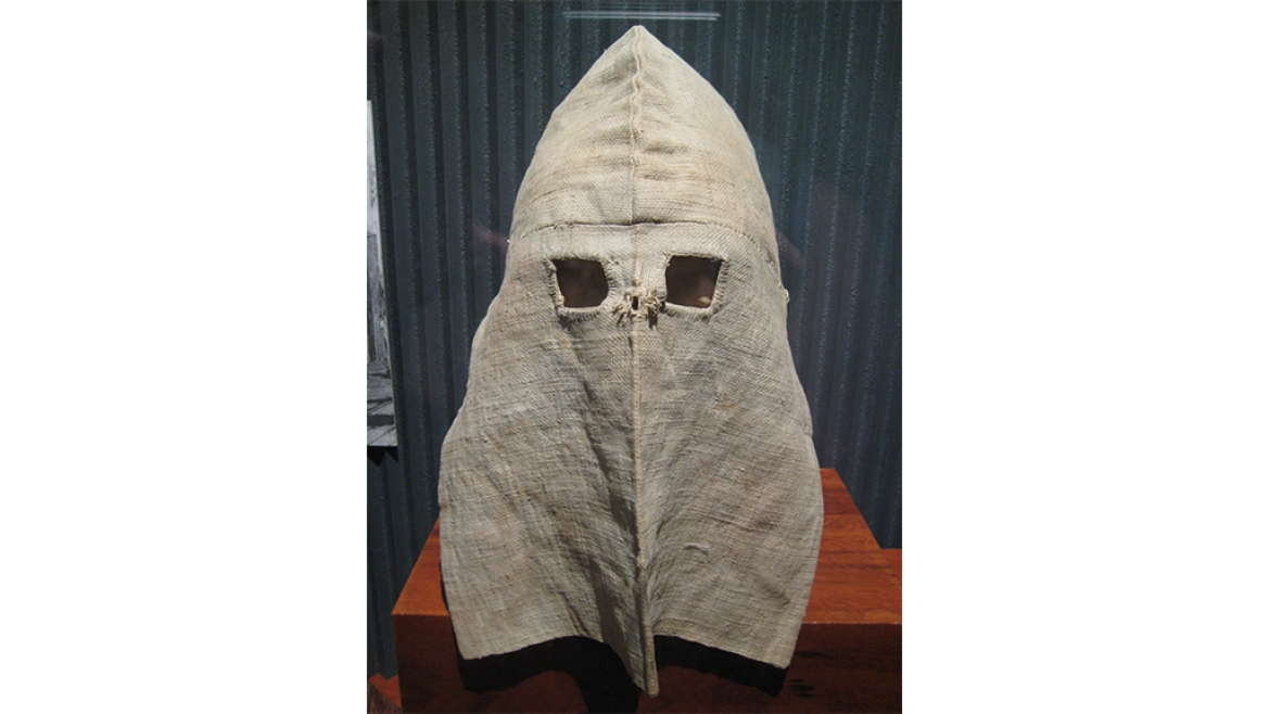 Calico hoods worn by prisoners