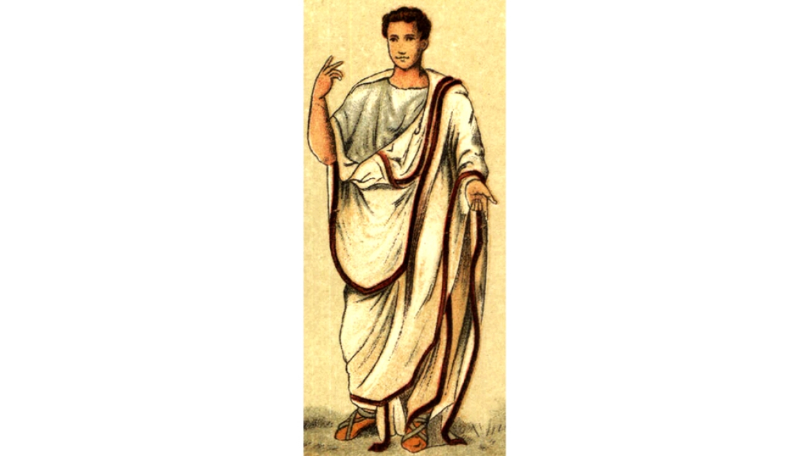 A painting of a Roman Senator wearing a cotton <i>toga, </i>most<i> </i>probably sourced from Coimbatore<i> </i>