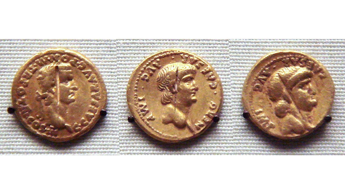 (From Left to Right) Roman gold coins found in South India