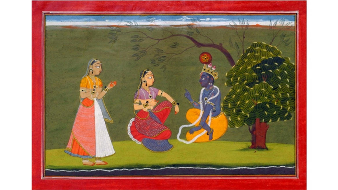 Basholi painting depicting Radha and Krishna