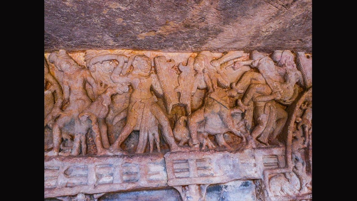 Panel in Rani Gumpha depicting Kharavela's march